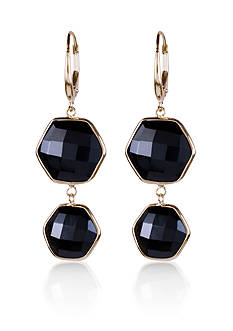Belk & Co. Black Onyx Hexagon Earrings in 14k Yellow Gold