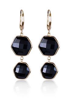Belk & Co. Black Onyx Hexagon Earrings in 14k Yellow Gold