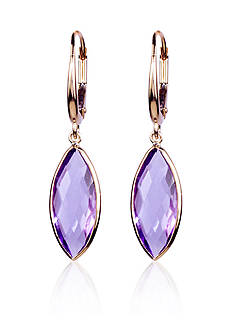 Belk & Co. Amethyst Earrings in 14k Yellow Gold