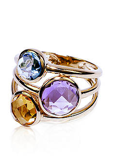 Belk & Co. Swiss Blue Topaz, Amethyst, and Citrine Ring in 14k Yellow Gold