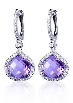 Belk & Co. Amethyst and White Topaz Earrings in Sterling Silver