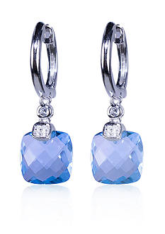 Belk & Co. Blue Topaz and White Topaz Earrings in Sterling Silver