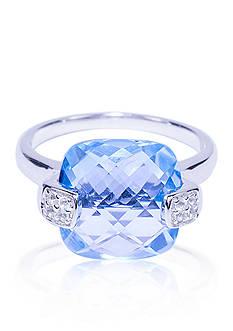Belk & Co. Blue Topaz and White Topaz Ring in Sterling Silver