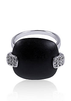 Belk & Co. Onyx and White Topaz Ring in Sterling Silver