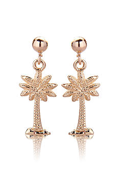 Belk & Co. Palmetto Palm Tree Earrings in Yellow Gold