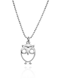 Belk & Co. Owl Pendant in Rhodium Plated Sterling Silver