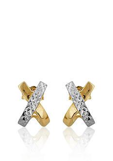Belk & Co. 14k Two Tone Gold 'X' Earrings