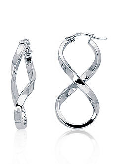 14k White Gold Figure Eight Hoop Earrings