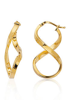 14k Yellow Gold Figure Eight Hoop Earrings