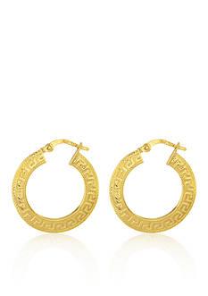 Belk & Co. 14k Yellow Gold Greek Key Hoop Earrings