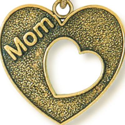 Charm Bracelets: Yellow Gold-Tone Angelica Mom Open Heart Expandable Bangle