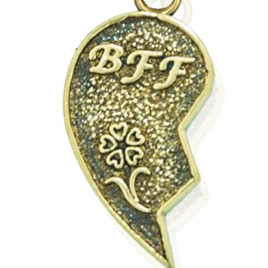 Charm Bracelets: Yellow Gold-Tone Angelica BFF Right Heart Expandable Bangle