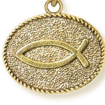 Charm Bracelets: Yellow Gold-Tone Angelica Christian Fish Expandable Bangle