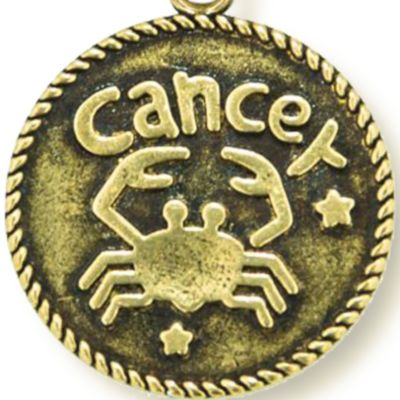 Charm Bracelets: Yellow Gold-Tone Angelica Cancer Expandable Bangle