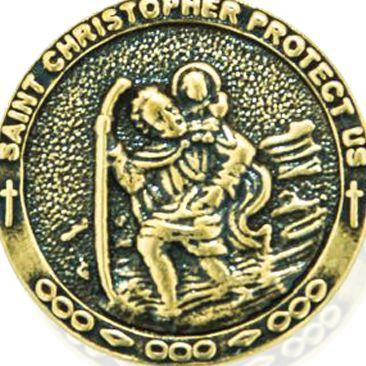 Charm Bracelets: Yellow Gold-Tone Angelica Saint Christopher Expandable Bangle