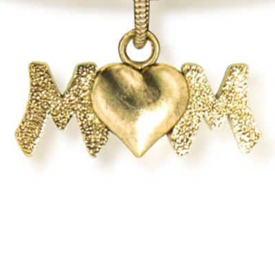 Charm Bracelets: Yellow Gold-Tone Angelica Mom Heart Expandable Bangle