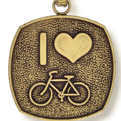 Charm Bracelets: Yellow Gold-Tone Angelica I Love to Bike Expandable Bangle
