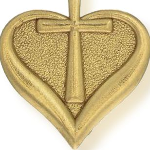 Charm Bracelets: Yellow Gold-Tone Angelica Heart and Cross Expandable Bangle