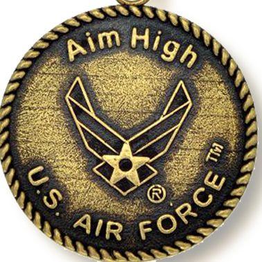 Charm Bracelets: Yellow Gold-Tone Angelica U.S. Air Force Aim High Expandable Bangle