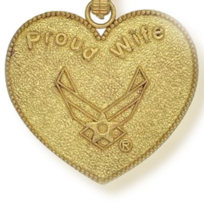 Charm Bracelets: Yellow Gold-Tone Angelica U.S. Air Force Proud Wife Expandable Bangle