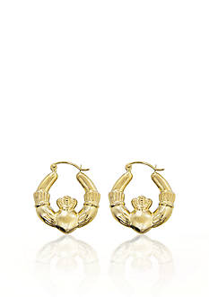Belk & Co. 14k Yellow Gold Claddagh Hoop Earrings