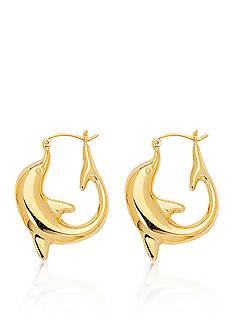 14k Yellow Gold Dolphin Hoop Earrings