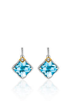Phillip Gavriel® Sterling Silver with Yellow Gold Blue Topaz and Diamond Earrings