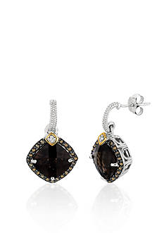 Phillip Gavriel® Sterling Silver with 18k Yellow Gold Smokey Quartz and Brown and White Diamond Earrings