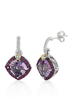 Phillip Gavriel® Sterling Silver with 18k Yellow Gold Pink Amethyst, Rhodolite, and Diamond Earrings