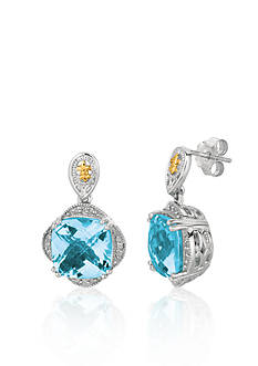 Phillip Gavriel® Sterling Silver with 18k Yellow Gold Blue Topaz Earrings