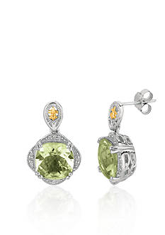 Phillip Gavriel® Sterling Silver with 18k Yellow Gold Green Amethyst and Diamond Earrings