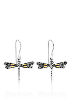 Phillip Gavriel® Sterling Silver with 18k Yellow Gold Dragonfly Earrings