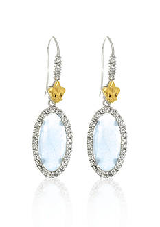 Phillip Gavriel® Sterling Silver with 18k Yellow Gold Aquamarine Earrings