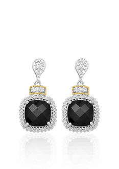 Phillip Gavriel® Sterling Silver with 18k Yellow Gold Black Onyx and Diamond Earrings