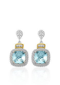 Phillip Gavriel® Sterling Silver with 18k Yellow Gold Blue Topaz and Diamond Earrings