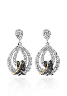 Phillip Gavriel® Black Diamond Teardrop Earrings in Sterling Silver and 18k Yellow gold