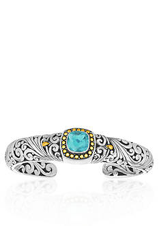 Phillip Gavriel® Sterling Silver with 18k Yellow Gold Blue Topaz Bangle