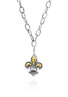 Phillip Gavriel® Sterling Silver with 18k Yellow Gold Fleur De Lis Pendant
