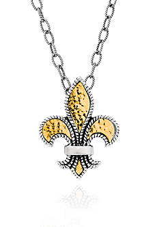 Phillip Gavriel® Sterling Silver with 18k Yellow Gold Fluer De Lis Pendant