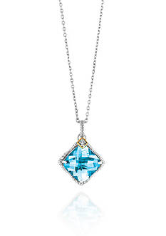 Phillip Gavriel® Sterling Silver with 18k Yellow Gold Blue Topaz and Diamond Pendant