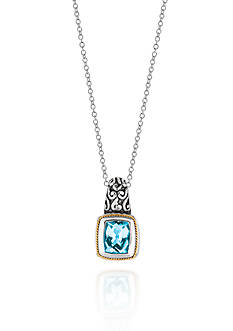 Phillip Gavriel® Sterling Silver with 18k Yellow Gold Blue Topaz Pendant
