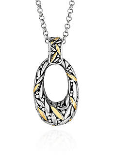 Phillip Gavriel® Sterling Silver with 18k Yellow Gold Oval Pendant