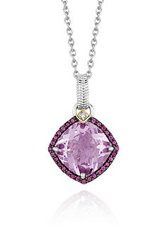 Phillip Gavriel® Sterling Silver with 18k Yellow Gold Pink Amethyst, Rhodolite, and Diamond Pendant