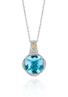 Phillip Gavriel® Sterling Silver with 18k Yellow Gold Blue Topaz Diamond Pendant
