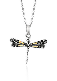 Phillip Gavriel® Sterling Silver with 18k Yellow Gold Dragonfly Pendant