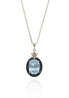 Phillip Gavriel® Sterling Silver with 18k Yellow Gold Blue Topaz and Blue Sapphire Pendant