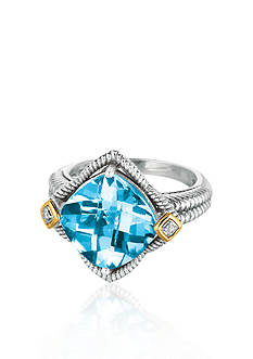 Belk & Co. Sterling Silver with 18k Yellow Gold Blue Topaz Diamond Ring