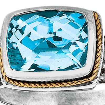 Jewelry & Watches: Blue Topaz Sale: Blue Topaz Belk & Co. Sterling Silver and 18k Yellow Gold Blue Topaz Ring
