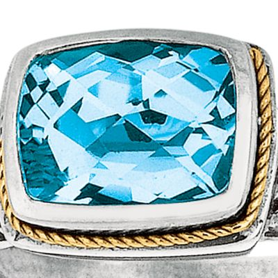 Jewelry & Watches: Blue Topaz Sale: Blue Belk & Co. Sterling Silver and 18k Yellow Gold Blue Topaz Ring