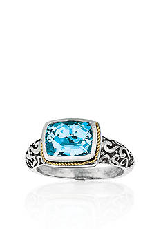 Belk & Co. Sterling Silver and 18k Yellow Gold Blue Topaz Ring